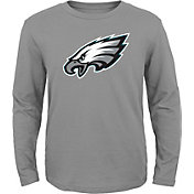 NFL Team Apparel Youth Philadelphia Eagles Logo Grey Long Sleeve Shirt