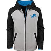 NFL Team Apparel Youth Detroit Lions Hi-Tech Full-Zip Hoodie