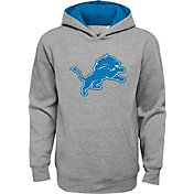 NFL Team Apparel Youth Detroit Lions Prime Grey Pullover Hoodie