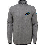NFL Team Apparel Youth Carolina Panthers Motion Grey Quarter-Zip Fleece Pullover