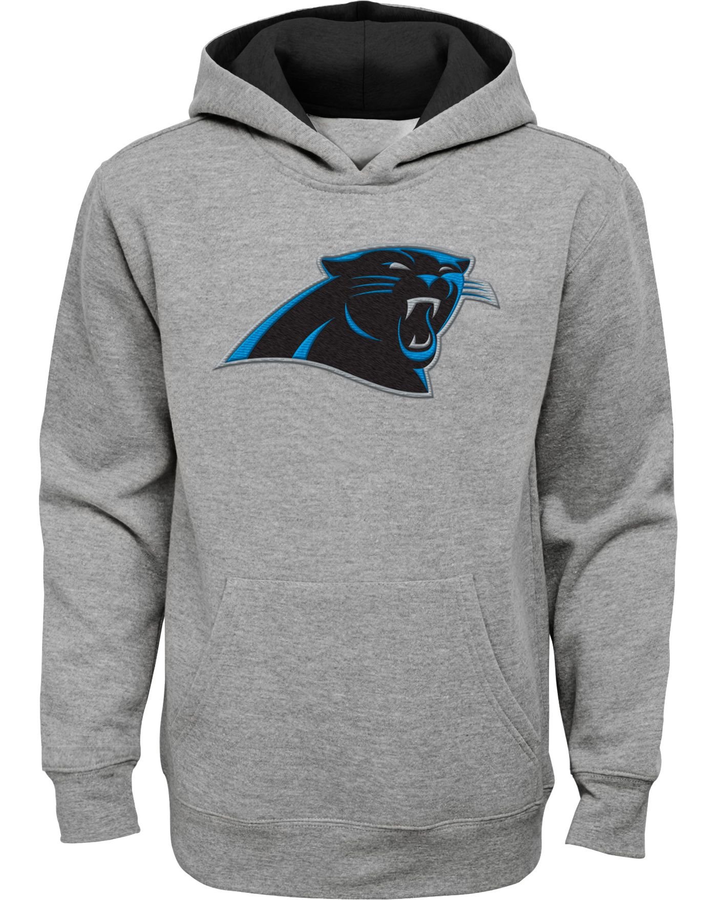 NFL Team Apparel Youth Carolina Panthers Prime Grey Pullover Hoodie