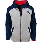NFL Team Apparel Youth New England Patriots Hi-Tech Full-Zip Hoodie