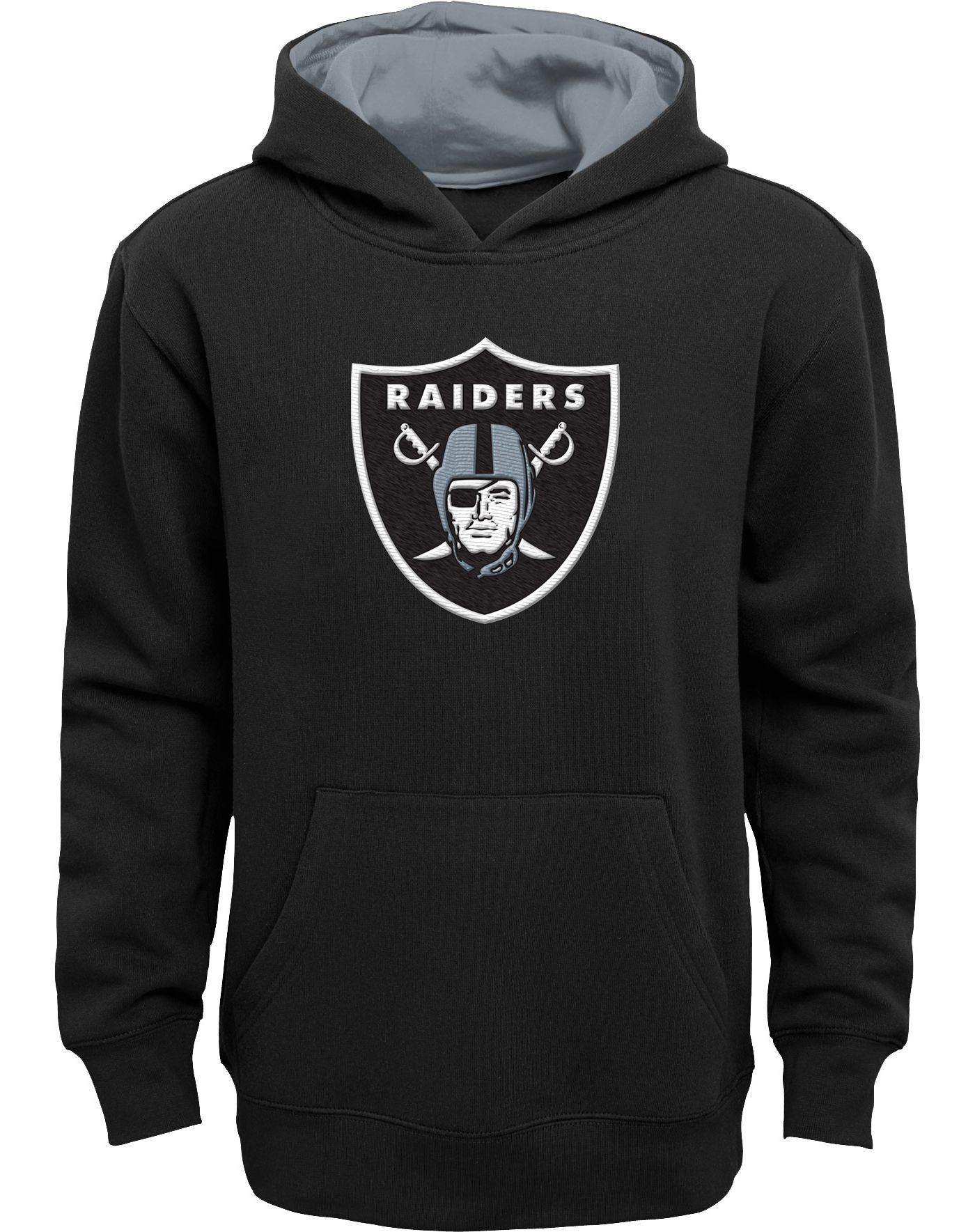 NFL Team Apparel Youth Oakland Raiders Prime Black Pullover Hoodie