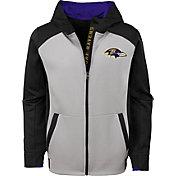 NFL Team Apparel Youth Baltimore Ravens Hi-Tech Full-Zip Hoodie