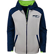 NFL Team Apparel Youth Seattle Seahawks Hi-Tech Full-Zip Hoodie