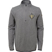 NFL Team Apparel Youth New Orleans Saints Motion Grey Quarter-Zip Fleece Pullover
