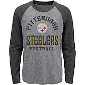 NFL Team Apparel Youth Pittsburgh Steelers Gridiron Grey Long Sleeve Shirt