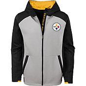 NFL Team Apparel Youth Pittsburgh Steelers Hi-Tech Full-Zip Hoodie