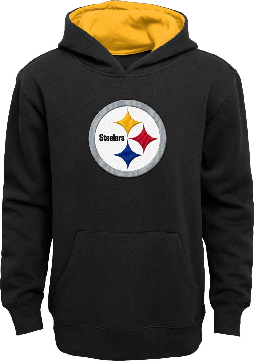 best value 7f14b 2f92f NFL Team Apparel Youth Pittsburgh Steelers Prime Black Pullover Hoodie