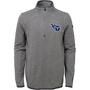 NFL Team Apparel Youth Tennessee Titans Motion Grey Quarter-Zip Fleece Pullover