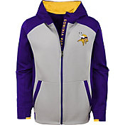 NFL Team Apparel Youth Minnesota Vikings Hi-Tech Full-Zip Hoodie