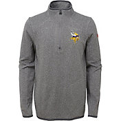 NFL Team Apparel Youth Minnesota Vikings Motion Grey Quarter-Zip Fleece Pullover