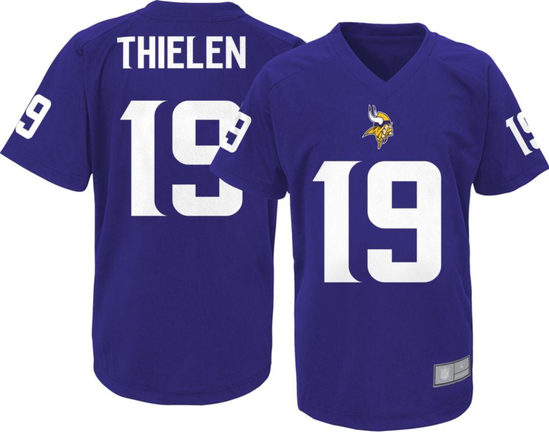 best service 69260 1aeeb NFL Team Apparel Youth Minnesota Vikings Adam Thielen #19 Purple  Performance T-Shirt