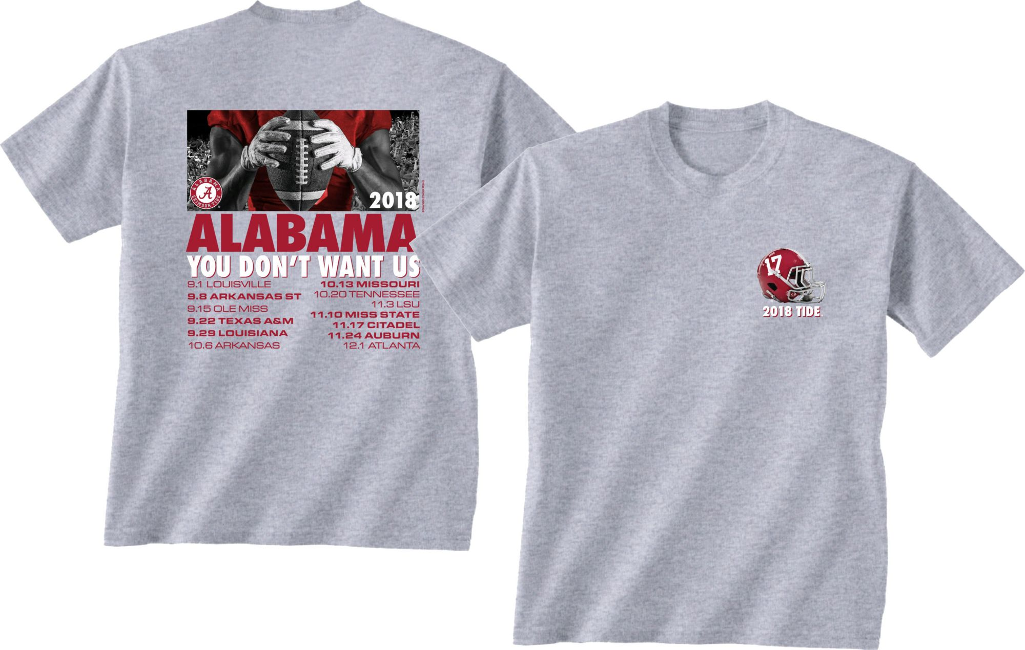 New World Graphics Mens Alabama Crimson Tide Grey 2018 Football