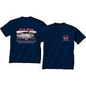 New World Graphics Men's Ole Miss Rebels Blue Stadium T-Shirt