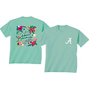 New World Graphics Women's Alabama Crimson Tide Green Flower T-Shirt