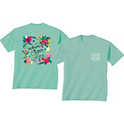 New World Graphics Women's Auburn Tigers Green Flower T-Shirt