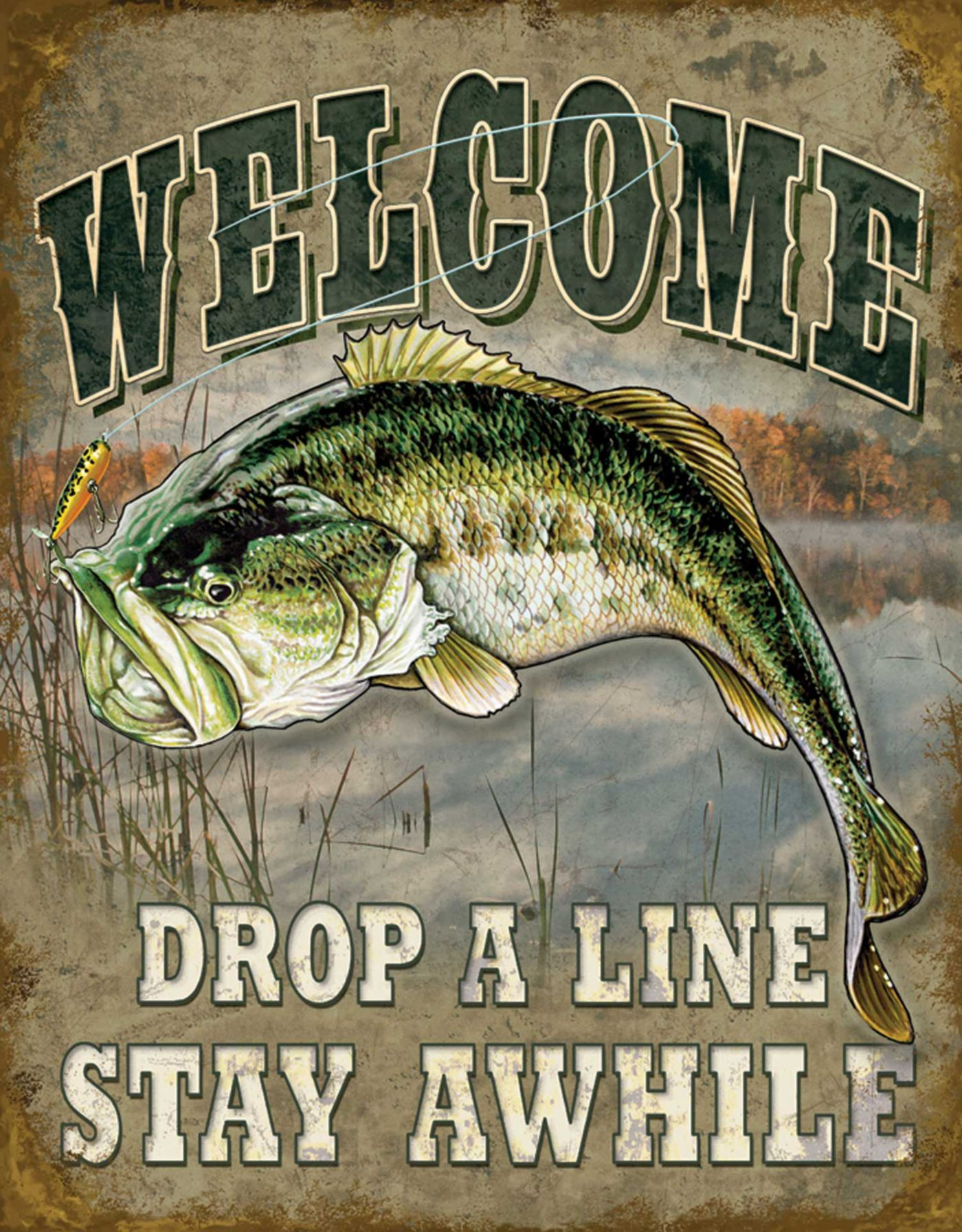 Welcome Bass Fishing Tin Sign