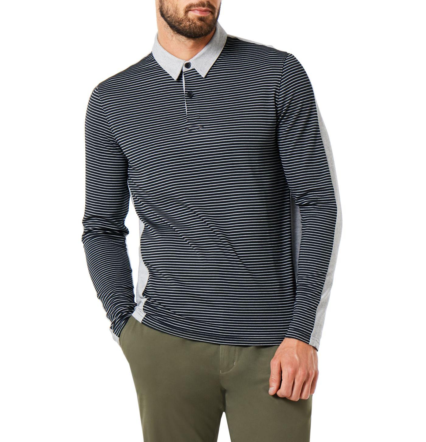 Oakley Men's Striped Long Sleeve Golf Polo