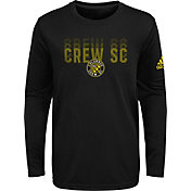 adidas Youth Columbus Crew Stack Repeat Black Long Sleeve Shirt