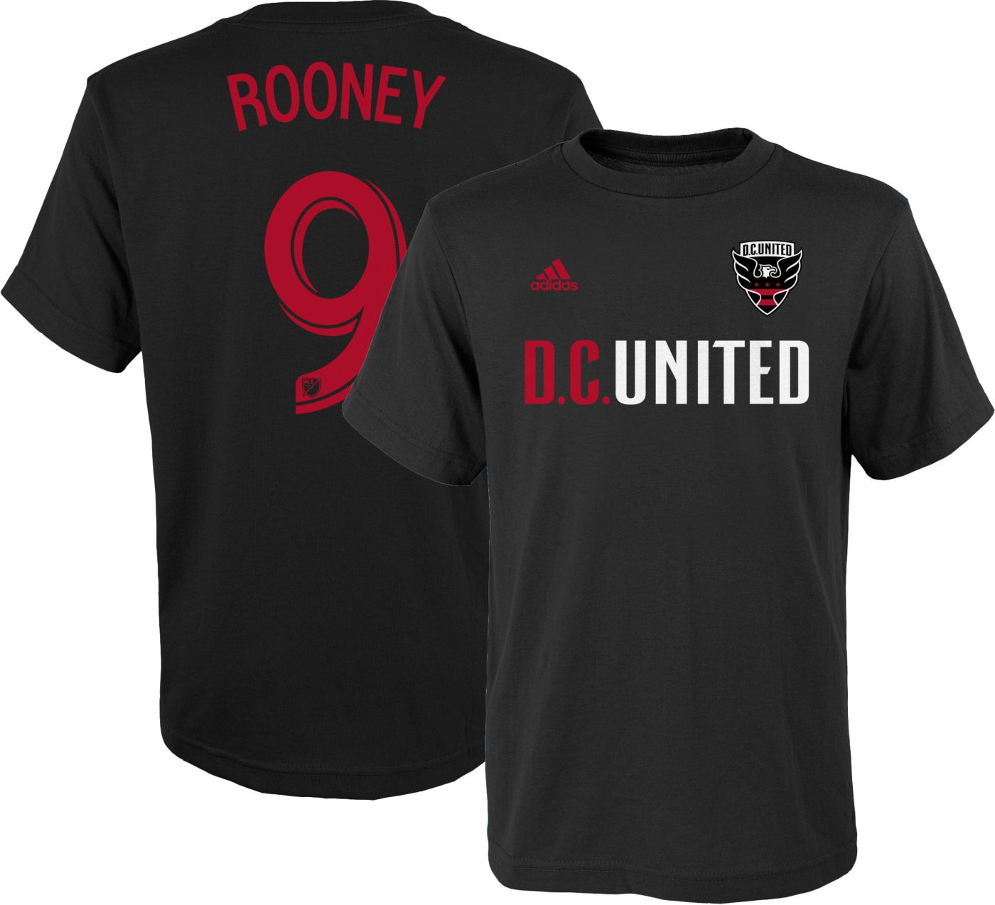 adidas Youth D.C. United Wayne Rooney #9 Player Black T-Shirt