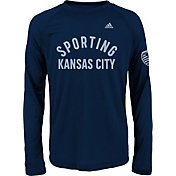 adidas Youth Sporting Kansas City S Ring Navy Performance Long Sleeve Shirt