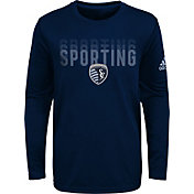 adidas Youth Sporting Kansas City Stack Repeat Navy Long Sleeve Shirt