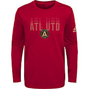 adidas Youth Atlanta United Stack Repeat Red Long Sleeve Shirt