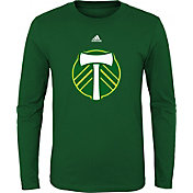 adidas Youth Portand Timbers Primary Logo Green Long Sleeve Shirt