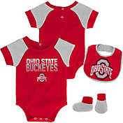 Gen2 Infant Ohio State Buckeyes Scarlet 50 Yard Dash 3-Piece Onesie Set