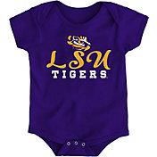 Gen2 Newborn LSU Tigers Purple Awesome Script Onesie
