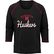 Gen2 Youth Girls' Nebraska Cornhuskers Overthrow Long Sleeve Black T-Shirt