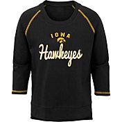 Outerstuff Youth Girls' Iowa Hawkeyes Overthrow Long Sleeve Black T-Shirt
