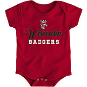 Gen2 Newborn Wisconsin Badgers Red Awesome Script Onesie