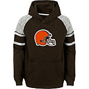 NFL Team Apparel Youth Cleveland Browns Linebacker Brown Pullover Hoodie