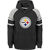 NFL Team Apparel Youth Pittsburgh Steelers Linebacker Black Pullover Hoodie
