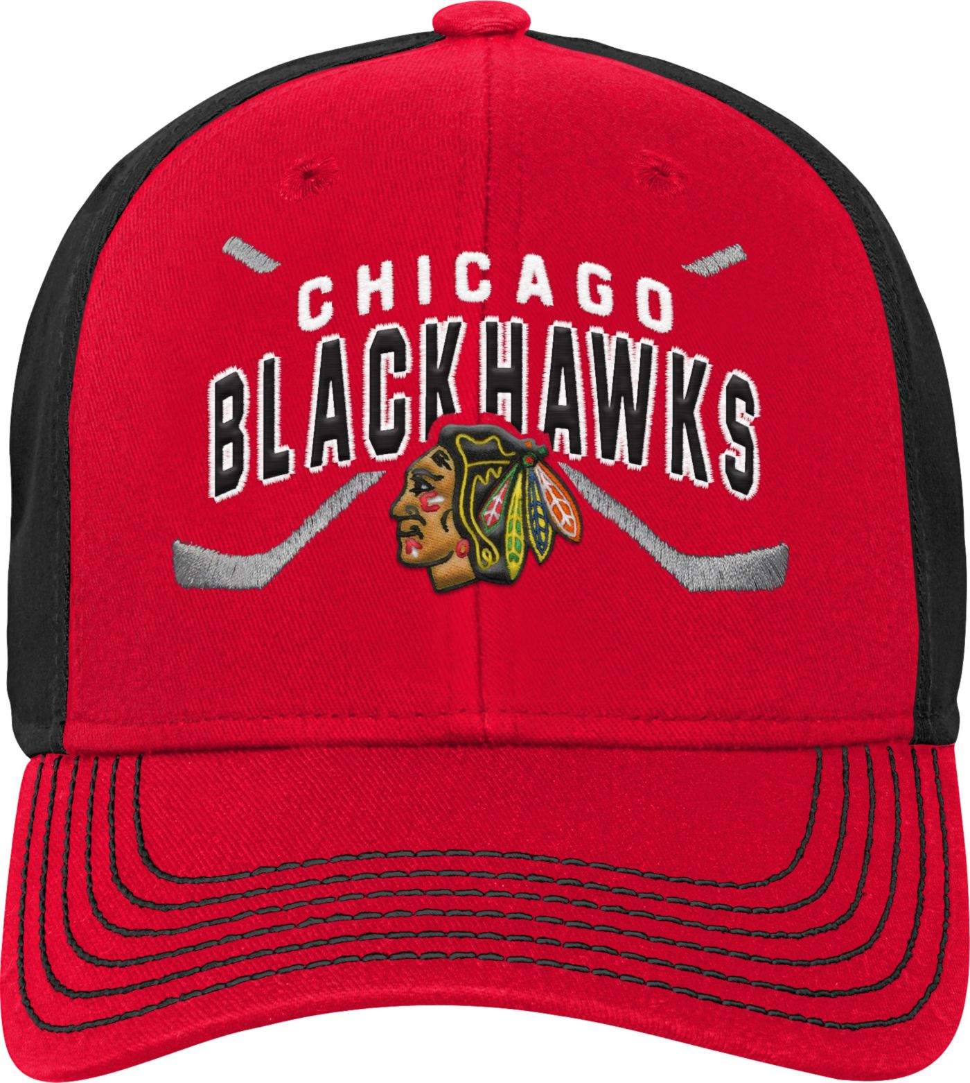NHL Youth Chicago Blackhawks Basic Strucutred Red Adjustable Hat