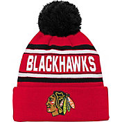 NHL Youth Chicago Blackhawks Wordmark Red Pom Knit Beanie