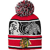 NHL Youth Chicago Blackhawks Grinder Red Pom Knit Beanie