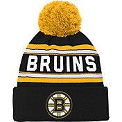 NHL Youth Boston Bruins Wordmark Black Pom Knit Beanie