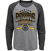 NHL Youth Boston Bruins Home Rink Black Raglan T-Shirt