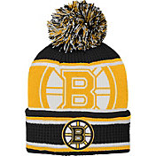 NHL Youth Boston Bruins Grinder Black Pom Knit Beanie