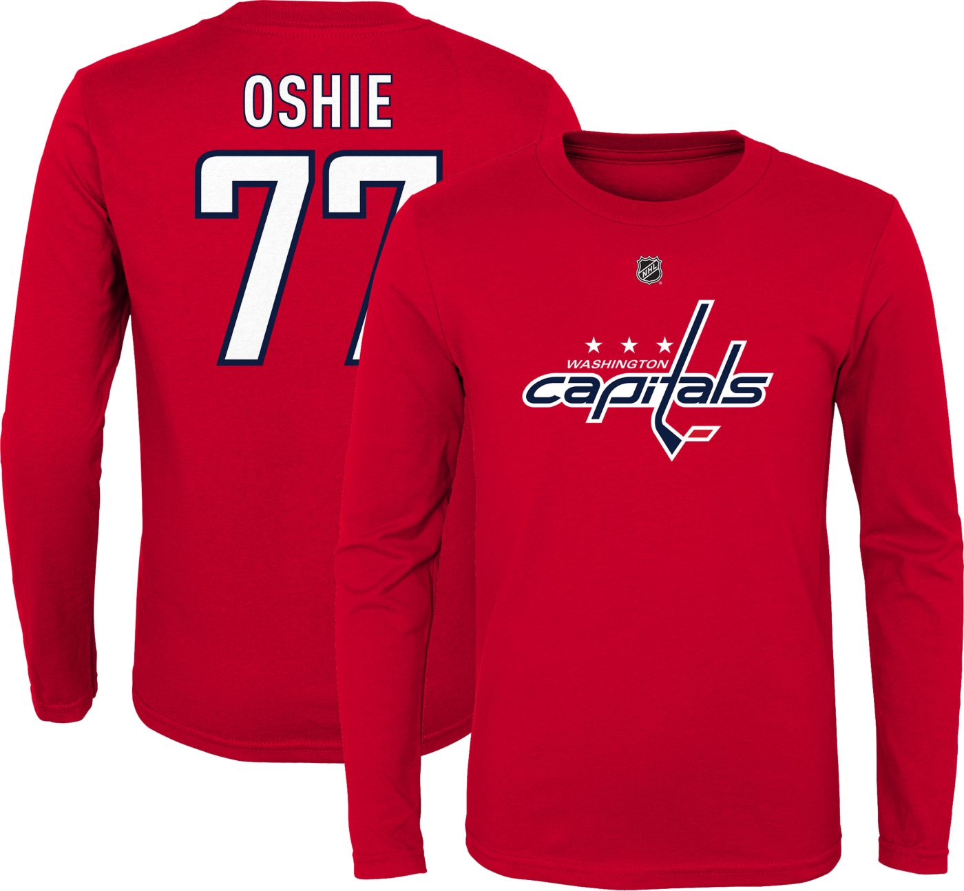 NHL Youth Washington Capitals T.J. Oshie #77 Red Long Sleeve Player Shirt