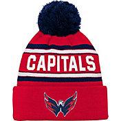 NHL Youth Washington Capitals Wordmark Red Pom Knit Beanie