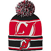NHL Youth New Jersey Devils Grinder Black Pom Knit Beanie