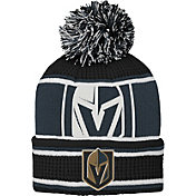 NHL Youth Vegas Golden Knights Grinder Black Pom Knit Beanie