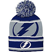 NHL Youth Tampa Bay Lightning Grinder Blue Pom Knit Beanie