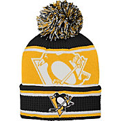 NHL Youth Pittsburgh Penguins Grinder Black Pom Knit Beanie