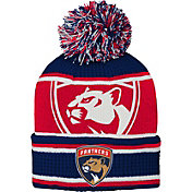 NHL Youth Florida Panthers Grinder Navy Pom Knit Beanie