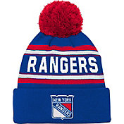 NHL Youth New York Rangers Wordmark Blue Pom Knit Beanie